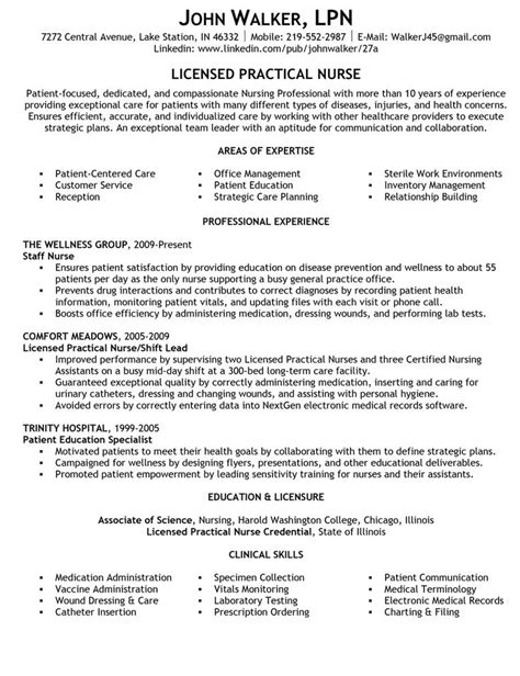 Licensed Practical Resume Sle Area Of Expertise And Summary Statements Resume For Licensed Practical Lpn Resume
