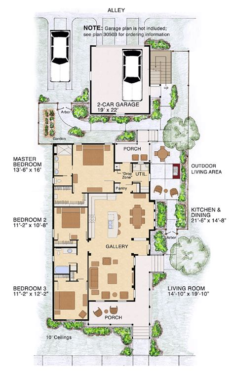 Narrow Lot House Plans Like The Kitchen Dining Living Layout Would Like The Master On The Living Room Side And