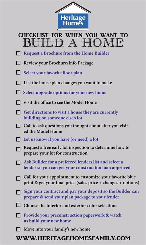 building new house checklist checklist of what to do when you want to build a home the