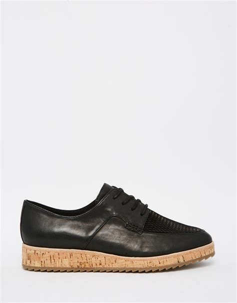 flat soled shoes aldo ldo gater black cork sole lace up flat shoes in black