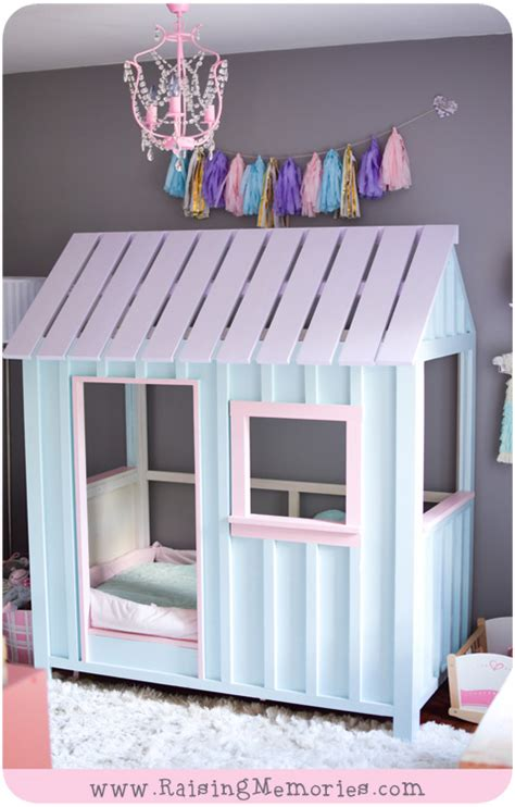 toddler bed house raising memories pastel pink purple and turquoise