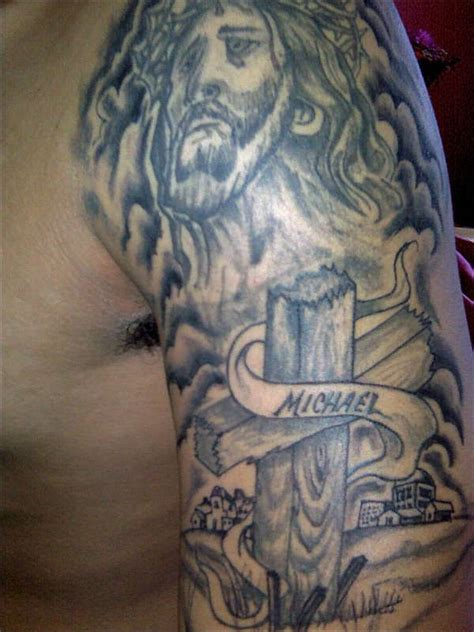 jesus tattoo using arm jesus arm tattoo