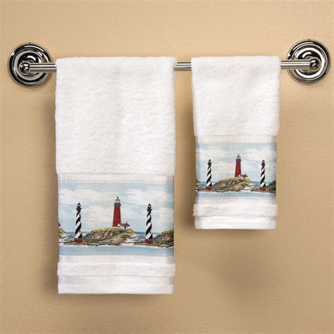 Shower Curtain And Bath Mat Set lighthouse printed hand towel bathroom towel walter drake