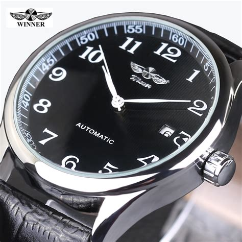 Winner Skeleton Leather Automatic Mechanical Watc Diskon winner watches classic mens auto date automatic mechanical