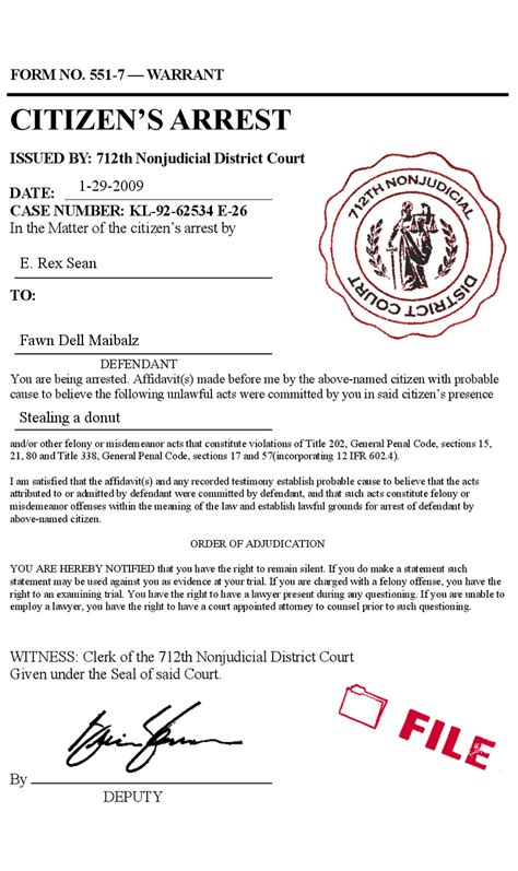 arrest warrant template citizens arrest order warrant court form phony