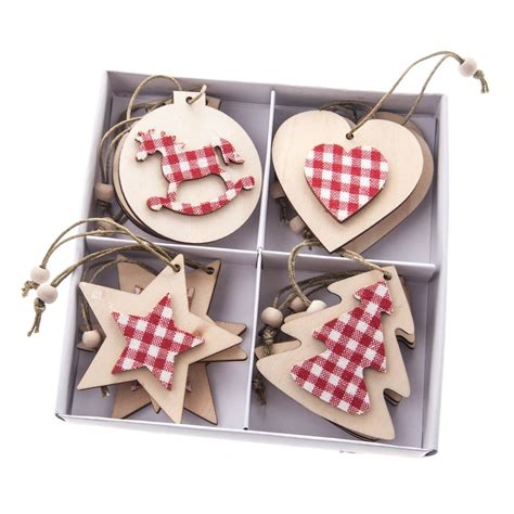 gisela graham christmas set of 12 gingham shaped wooden