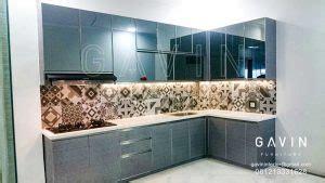 Cermin Grey contoh lemari dapur bahan hpl minimalis untuk klien di priok kitchen set minimalis lemari