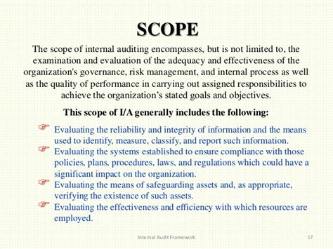 audit scope template audit framework