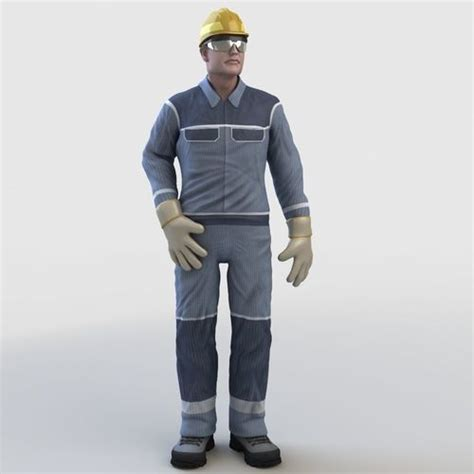 realistic worker character  cgtrader