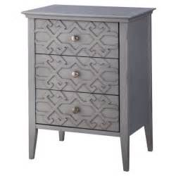 Gray Accent Table Threshold 3 Drawer Fretwork Accent Table Gray