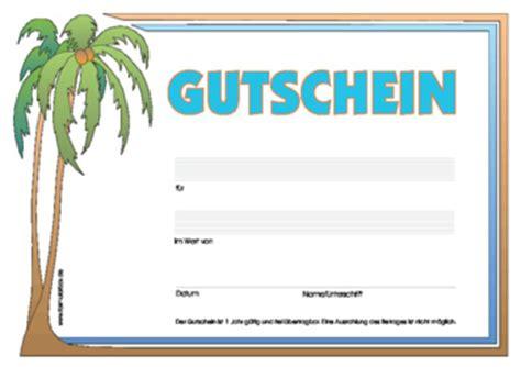 Word Vorlage Urlaub Geschenk Gutschein Palme Vorlage Zum Downloaden Und Ausdrucken