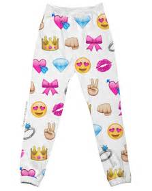 White emoji joggers all over print jogging pants by i3am on etsy
