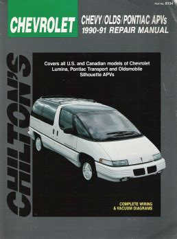 auto manual repair 1990 pontiac firefly user handbook 1990 1991 lumina transport silhouette apvs chilton s total car care manual