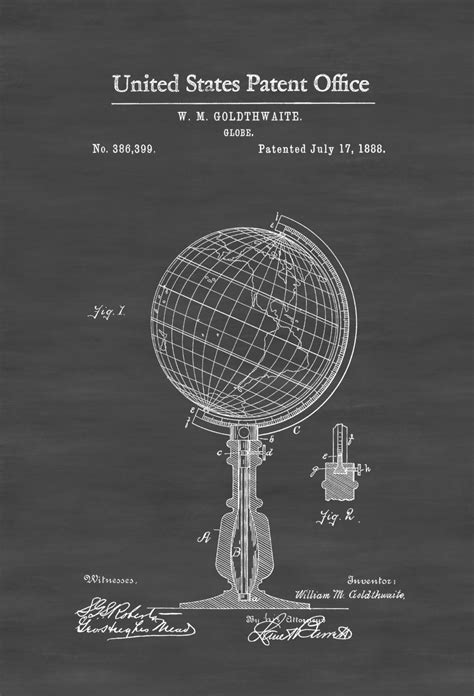 Patent Scientist by World Globe Patent 1888 Patent Print Vintage Wall Living Room Decor Science Poster