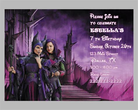 disney descendants party descendents birthday by disney descendants birthday party invitations and