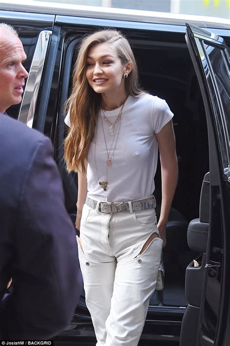 youlanda foster white tee shisrt a bra less gigi hadid steps out with her mom yolanda hadid