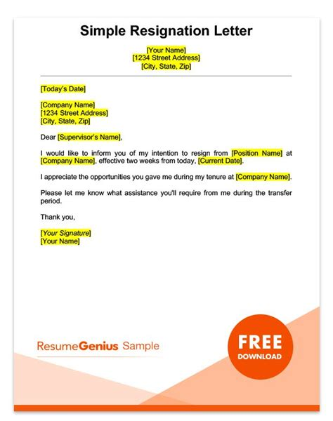 simple resignation letters two weeks notice letter sle free