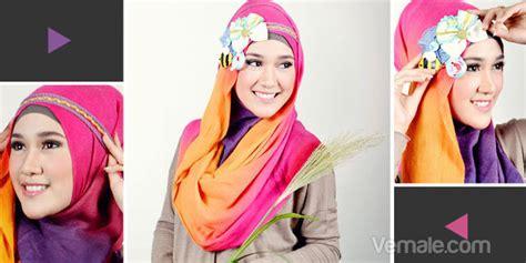 6 tutorial berhijab syari dengan jilbab tutorial praktis jilbab pelangi dengan headband kombinasi
