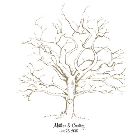 printable handdrawn wedding fingerprint tree by