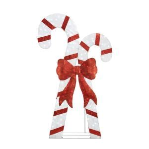 home depot outdoor christmas decorations letter of home accents holiday 84in 240l led candy cane x 2 ty107