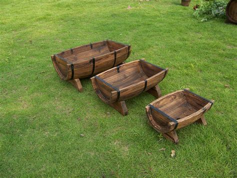 Wooden Half Barrel Planters by Half Barrel Wooden Planter Boxes Traditional Outdoor