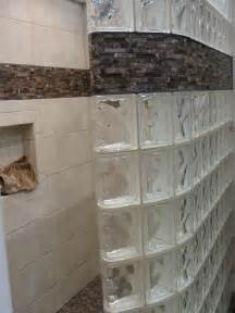 Decorative Tile Border In A Glass Block Shower Wall