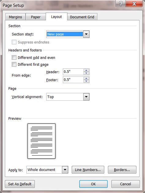 layout dialog box word 2010 text box how to number the lines of a ms word 2010 document