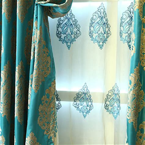 bright blue curtains classic chenille jacquard craftsmanship bright blue curtains