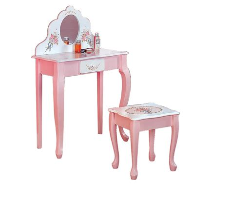 Vanity Children by Dreamfurniture Teamson Vanity And Table Set Bouquet