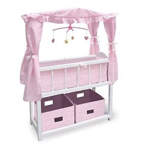 baby wood doll crib pink white bedding mobile canopy