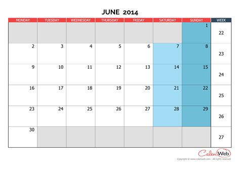 printable monthly calendar june 2014 monthly calendar month of june 2014 the week starts on