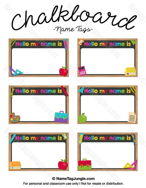 printable children s name labels free printable chalkboard name tags the template can also