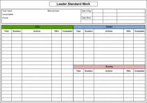 standard work excel template how do organizations sustain improvements
