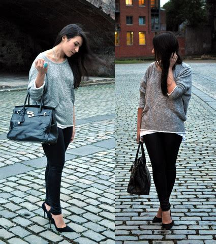 Sweater Amsterdam Rin g h m turquoise ring topshop grey marl