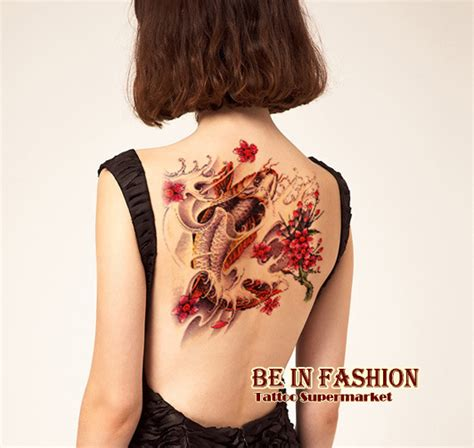 one piece temporary tattoo 1 piece large carp diving flower sdesigns temporary tattoo