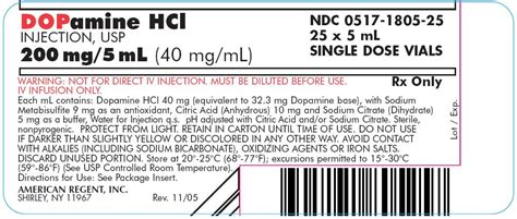 Usp Controlled Room Temperature by Dopamine Hcl American Regent Inc Fda Package Insert