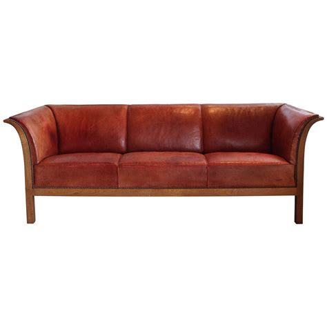 cognac leather chair and ottoman frits henningsen cognac red leather sofa denmark 1939 at