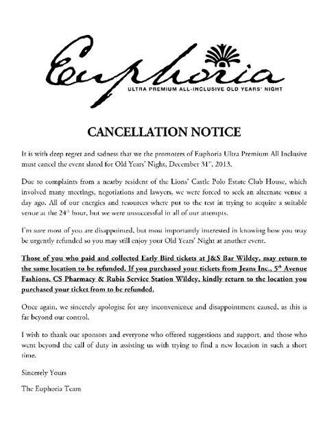 event cancellation notice letter letter sle cancellation event speaker letter sle