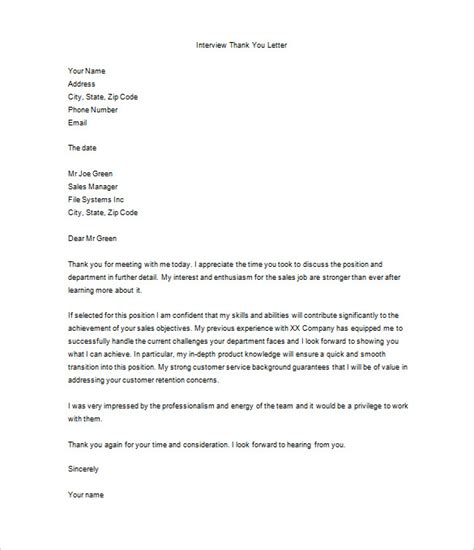 thank you letter after job interview 10 free sle