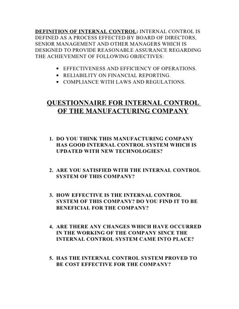 internal control system questionnaire