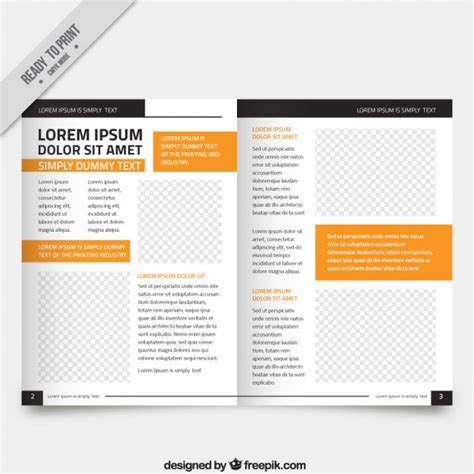 white magazine template orange parts vector free download