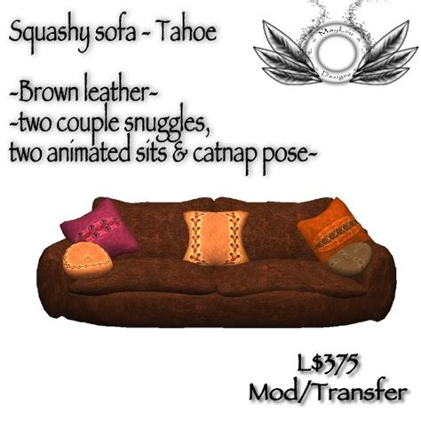 squashy couch second life marketplace squashy sofa tahoe brown