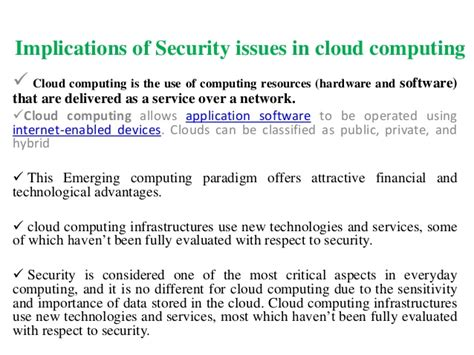 cloudputing security issues and challenges ppt cloud computing security issues challenges ppt