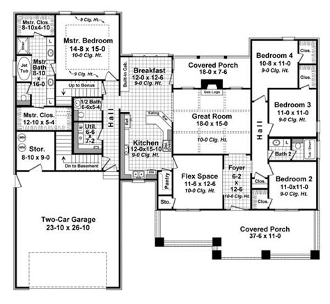 2 Storey House Plans With Bonus Room Garage by Bungalow Style House Plans 2284 Square Foot Home 1