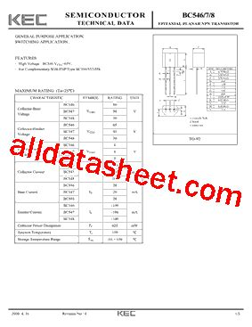 transistor bc548 description bc548 datasheet pdf kec korea electronics