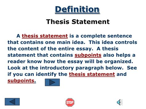 dissertion definition thesis statement ppt