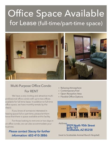 Office Space Available For Rent Office Spaace Flyer Staples