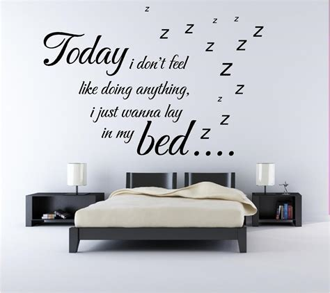 Bedroom Wall Quote Stickers Uk Bruno Mars Lazy Song Lyrics Quote Bedroom Wall