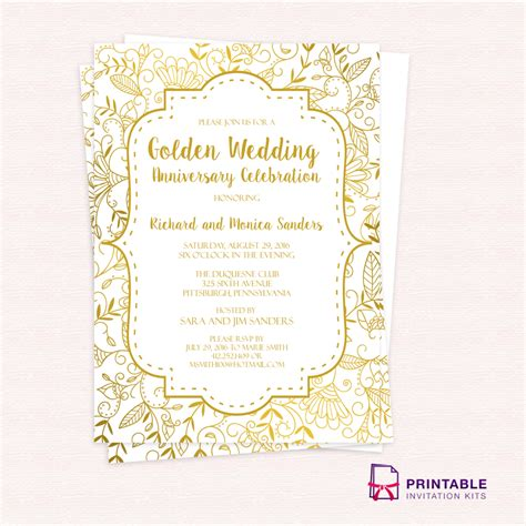 Gold Wedding Invitation Cards by Free Pdf Template Golden Wedding Anniversary Invitation