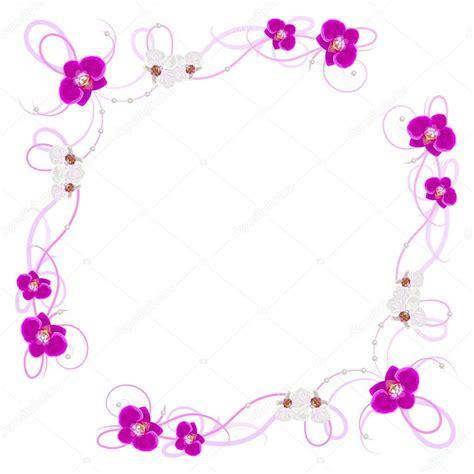 cornice di fiori delicata cornice con fiori di orchidea vettoriali stock